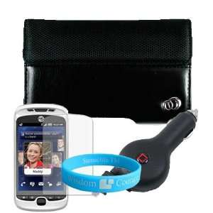 Black HTC MyTouch Slide 3G Two Tone Carrying Case + Retractable Car