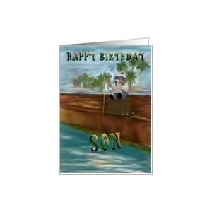 Happy Birthday Son Brown Bear sitting on box Card: Toys & Games