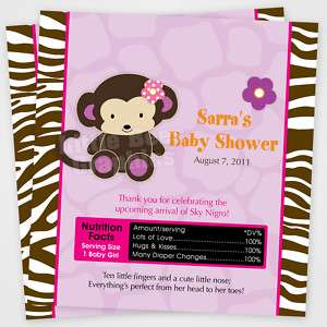 20 Jacana Jungle Monkey Candy Wrapper Baby Shower Favor