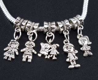 Mix 100pcs Tibetan Silver Boy/Girl Charms Beads fit European bracelet