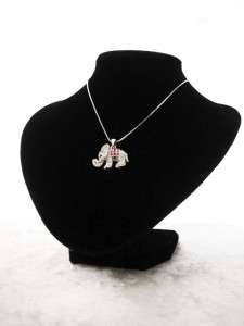 NEW ELEPHANT NECKLACE SILVER RHINESTONE JEWELRY WOMEN