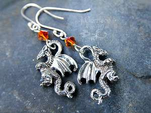 Winged dragon earrings, fiery orange crystal, sterling silver hooks
