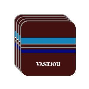 Personal Name Gift   VASILIOU Set of 4 Mini Mousepad Coasters (blue