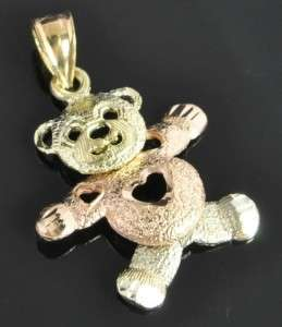 Beverly Hills Tri Color 14K Rose & Green Gold Movable Teddy Bear Charm