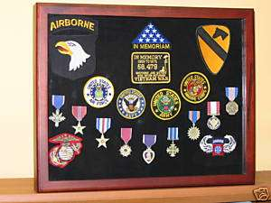 MILITARY MEDAL COLLECTABLE DISPLAY CASE CHERRY 17X21