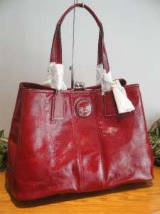 NEW COACH SIGNATURE STITCHED PATENT LEATHER RED CARRYALL BAG 15658