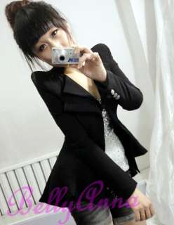 Elegant OL High Quality Peak Power Shoulder Coat Jacket Blazer Suit