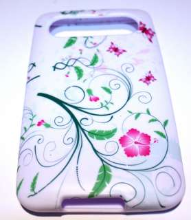 HTC HD7 T Mobile Pink Butterfly Flower Silicone Skin TPU Cover Case