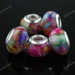SHELL MOP RESIN EUROPEAN BIG HOLE CHARM BEADS JEWELRY FINDINGS FIT