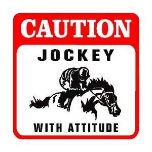 CAUTION JOCKEY horse race rider game sign