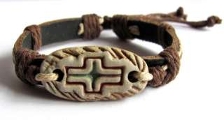 Adjustable Genuine Leather Hemp Tribal Surfer Cuff Bracelet Fish Cross