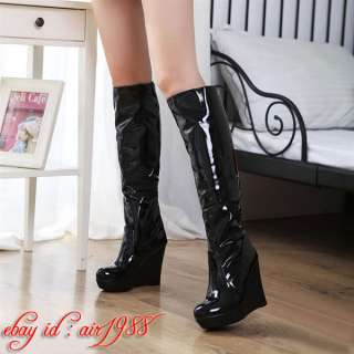 Ankle/Over The Knee Winter Snow Boots Womens Wedge Heels Shoes UK2 6.0