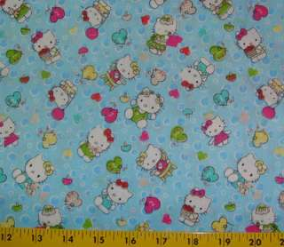 Hello Kitty fabric   Hearts   Bubbles blue/PINK   63 wide 6 yards