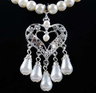 W21948 Heart Tassels Pendant White Imitate Pearl Crystal Necklace