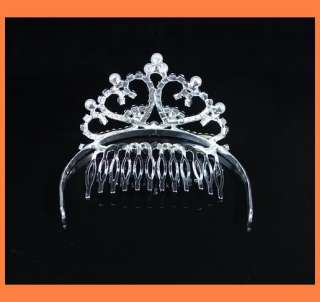 AUSTRIAN RHINESTONE CRYSTAL IMITATED PEARL TIARA HAIR WITH COMB W115