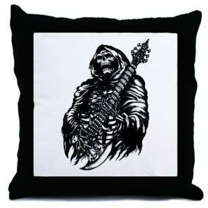 Throw Pillow Grim Reaper Heavy Metal Rock Player