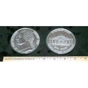 1985 Jefferson Nickel. Big Huge Large 3 Metal Coin