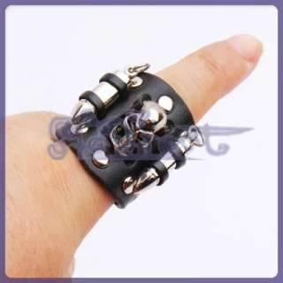 Punk Gothic Metal Skull Bullet Studs BLACK LEATHER RING