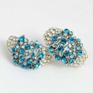 Fashion Silver Meniscus Shape Blue Crystal Studs Earrings