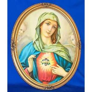 Immaculate Heart of Mary   Vintage oval shaped Picture Frame 22 x 18