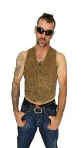 Western Oiled Suede Leather MOTORCYCLE Punk BIKER Vest Size M