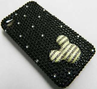 iPhone 4 4S HARD CASE BLACK WHITE MICKEY MOUSE BLING DIAMOND   FREE