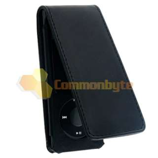 For Apple iPod NANO 5G 5th Generation Black Leather Hard Flip Case