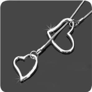Double Love Heart Silver Color Fashion Necklace