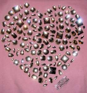 LTD VICTORIA SECRET PINK BLING JEWEL HEART HOODIE TOP SHIRT & SWEAT