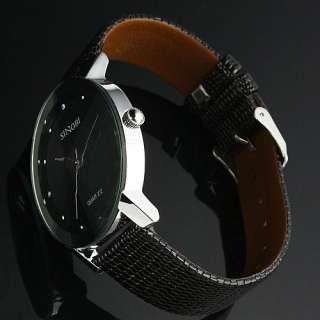 New Classic SINOBI Black Leather Strap Mens Man Fashion Style Quartz
