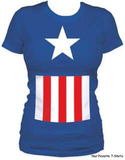 Licensed Marvel Comics Captain America Suit Women Junior Tee Shirt