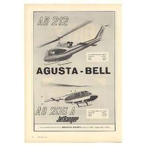 Bell AB212 AB206A JetRanger Helicopters Print Ad