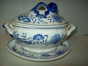 ANTIQUE KALK ? PORCELAIN GERMANY BLUE ONION TUREEN+PLATE