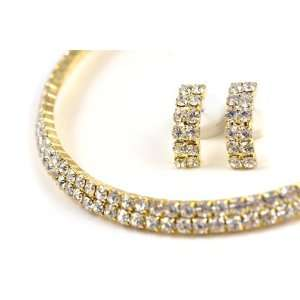 Gold Tone Rhinestone 2 Row Choker Bridal Necklace Earrings
