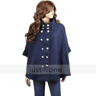 Women Ladies Princess Wool blend Double breasted Poncho Cape Jacket