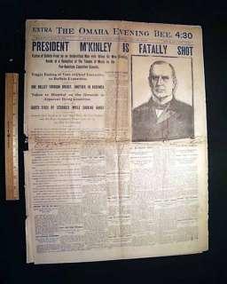 President WILLIAM McKINLEY Shot Dead ? 1901 Newspaper *