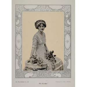 1911 Print Miss Kerslake Edwardian Dress Art Nouveau   Original Print