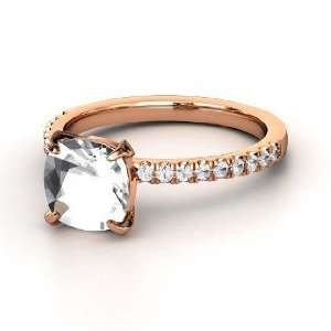 Cecilia Ring, Cushion Rock Crystal 14K Rose Gold Ring with