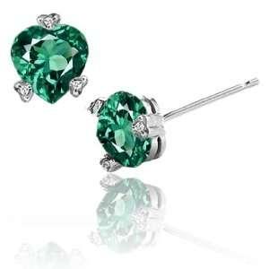 CandyGem 14k Gold Created Heart Shape Emerald and Diamond