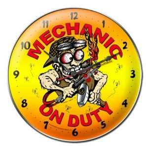 Round Metal Mechanic On Duty Garage Clock Sign Home & Kitchen