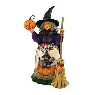 Jim Shore Heartwood Creek from Enesco Witch with Cat and Pumpkin Scene