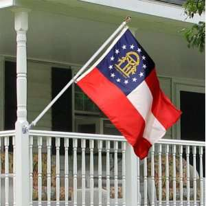 Georgia 3x5 foot Tornado porch flag kit   silver anti furl