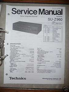 Service Manual Technics SU Z960 Amplifier,ORIGINAL