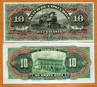 Costa Rica, 10 Colones, 1901 1905 P S174r, UNC  Train