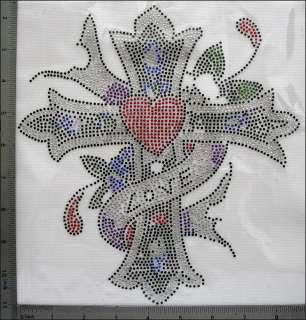 Rhinestone/Rhinestuds Iron On Hot Fix Love Heart Flower Cross IR021G