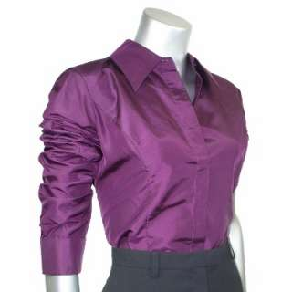 Sutton Studio Womens Silk Taffeta Blouse with Tie Top
