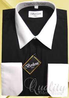 Berlioni 17 17.5 36/37 White Collar & Cuffs Black Dress Shirt $69 NWT
