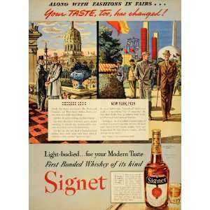 Ad Signet Bonded Whiskey Antique Liquor Bottles   Original Print Ad