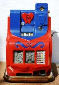 1937   1947 Mills 5 cent Sweetheart QT Slot Machine