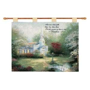 Christian Insperational Thomas Kinkade HOMETOWN CHAPEL Tapestry Wall